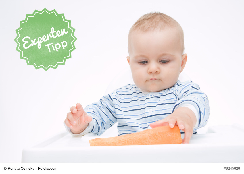 Baby-led-Weaning: Baby mit Karotte