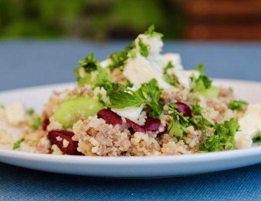 Couscous-Salat mit Hackfleisch