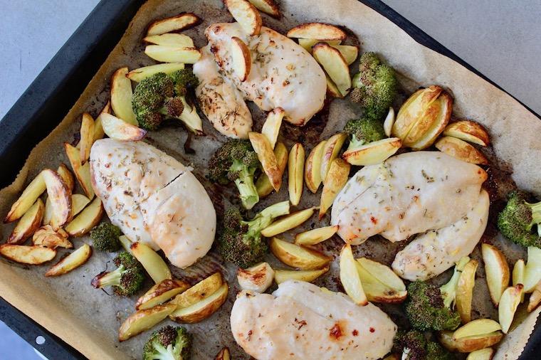 Zitronenhühnchen mit Kartoffeln und Brokkoli