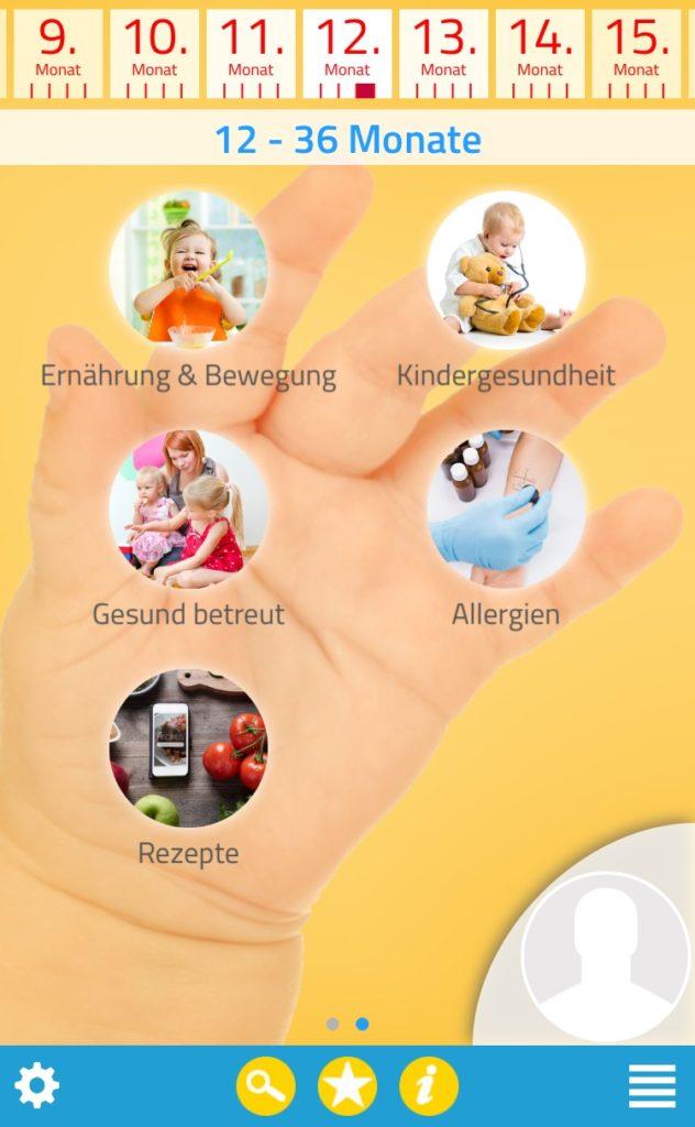 Screenshot App Kind und Essen