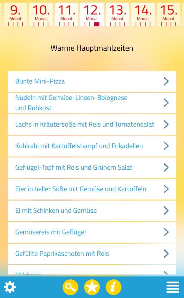 Menü-Unterpunkte der App Kind & Essen mit Rezepten