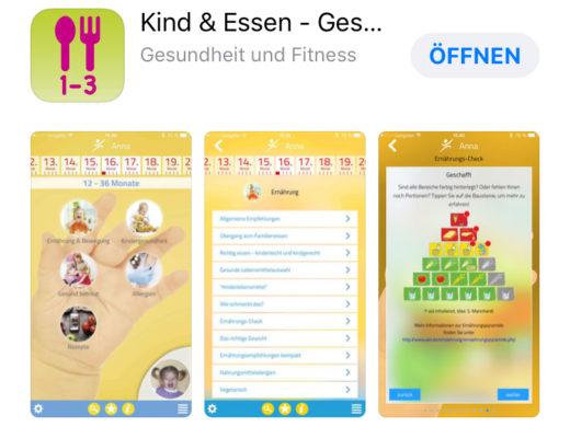 Übersicht zur App Kind & Essen